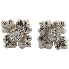Classic Diamond Gold Flower Stud Earrings