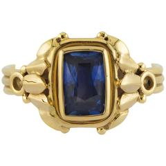 Rectangle Cushion Shape Intricately Detailed Sapphire Gold Ring