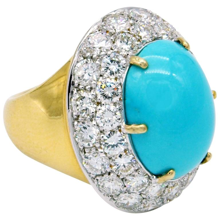 Large Turquoise Diamond Gold Cocktail Ring