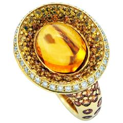Citrine, Yellow Sapphire and Diamond Gold Ring