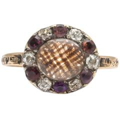 Georgian Amethyst Diamond Gold Ring