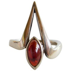 Jack Nutting Garnet Sterling Silver California Modernist Ring