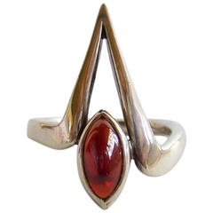Jack Nutting Garnet Sterling Silver American Modernist Ring