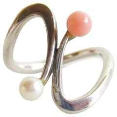Jack Nutting Coral Pearl Sterling Silver Modernist Ring