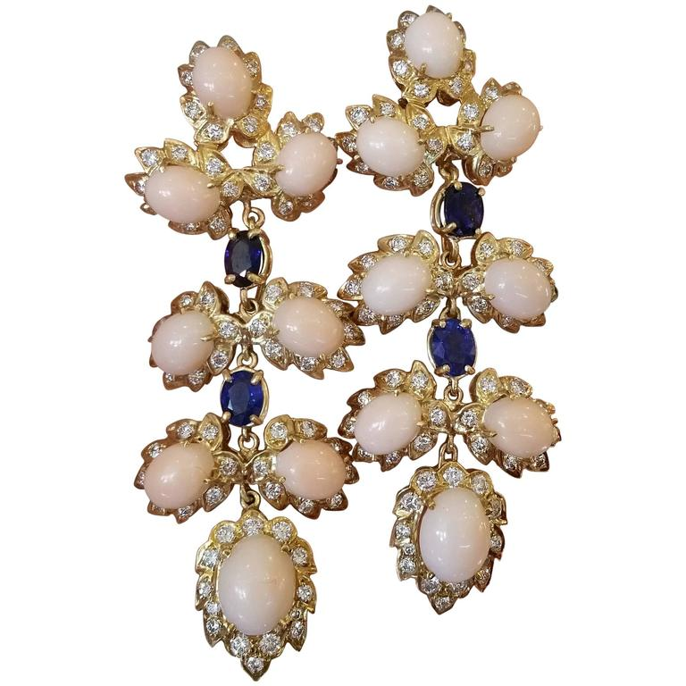 Coral Sapphire Diamond Gold Drop Earrings