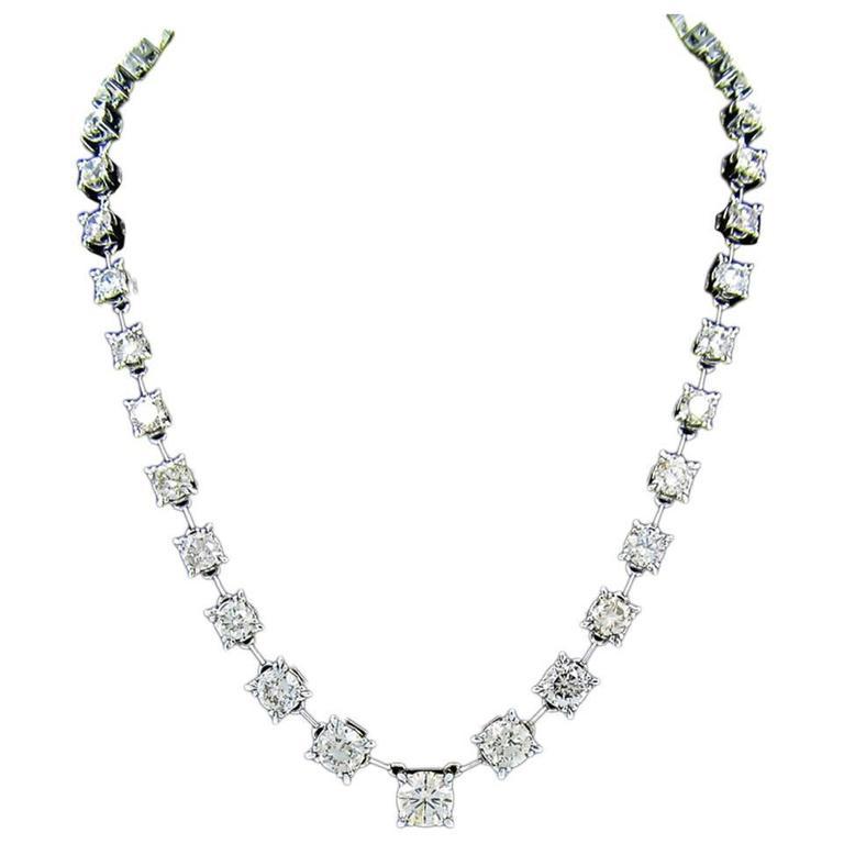 37.36 Carats Diamonds Gold Tennis Necklace