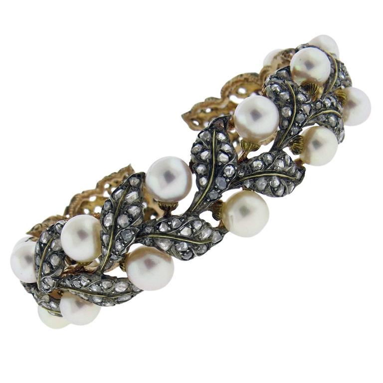 Buccellati Gold Silver Rose Cut Diamond Pearl Leaf Motif Cuff Bracelet