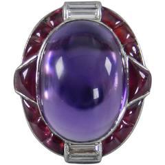 1930s Verdura Art Deco Ruby Cabochon Amethyst Diamond Platinum Ring