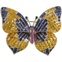 1970s Illario Sapphire Diamond Gold Butterfly Tremblant Brooch