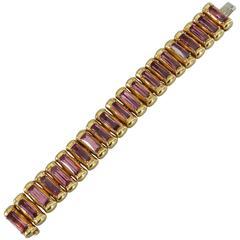 Tony Duquette Amethyst Gold Link Bracelet