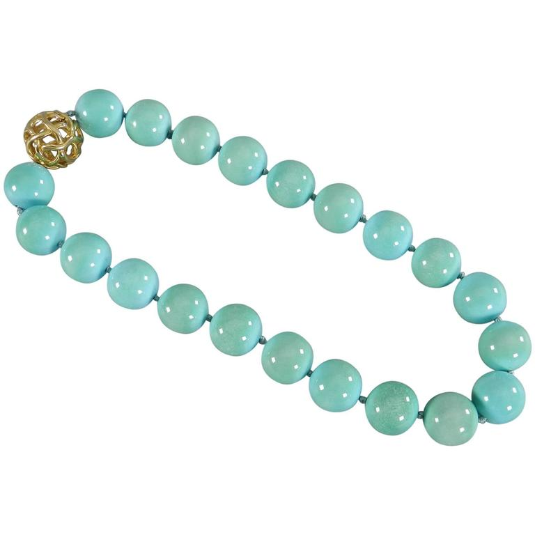 6338ae333ea1 Angela Cummings Turquoise Bead Necklace with Gold Clasp at 1stdibs