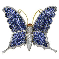 Large Butterfly Brooch, Sapphires Diamonds on Gold