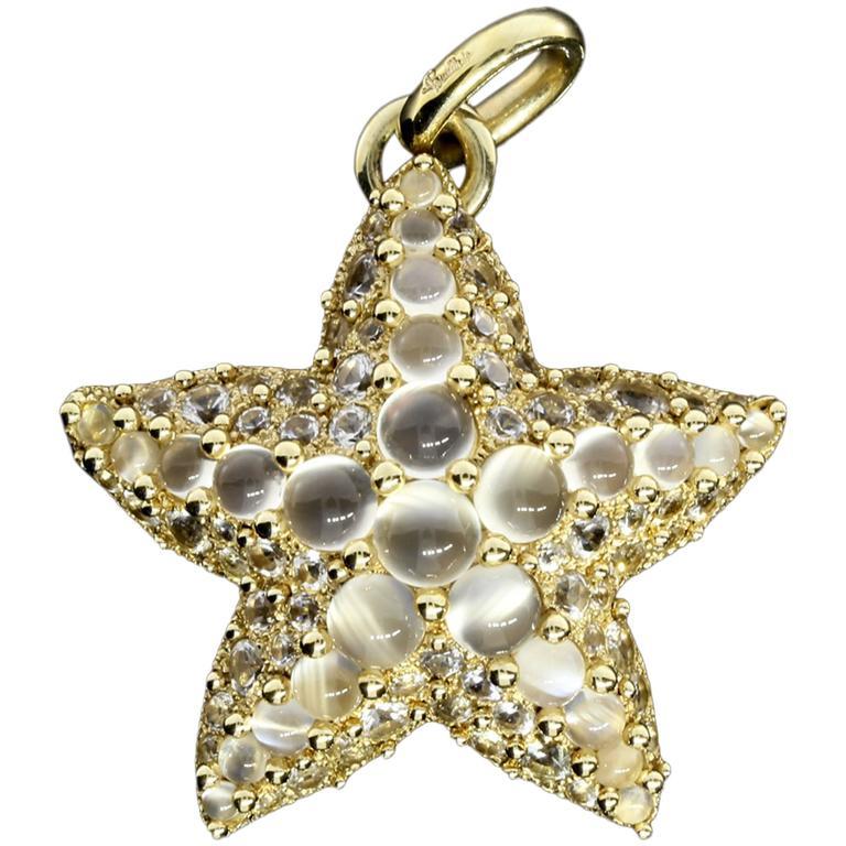 Pomellato Moonstone Gold Sirene Starfish Pendant For Sale