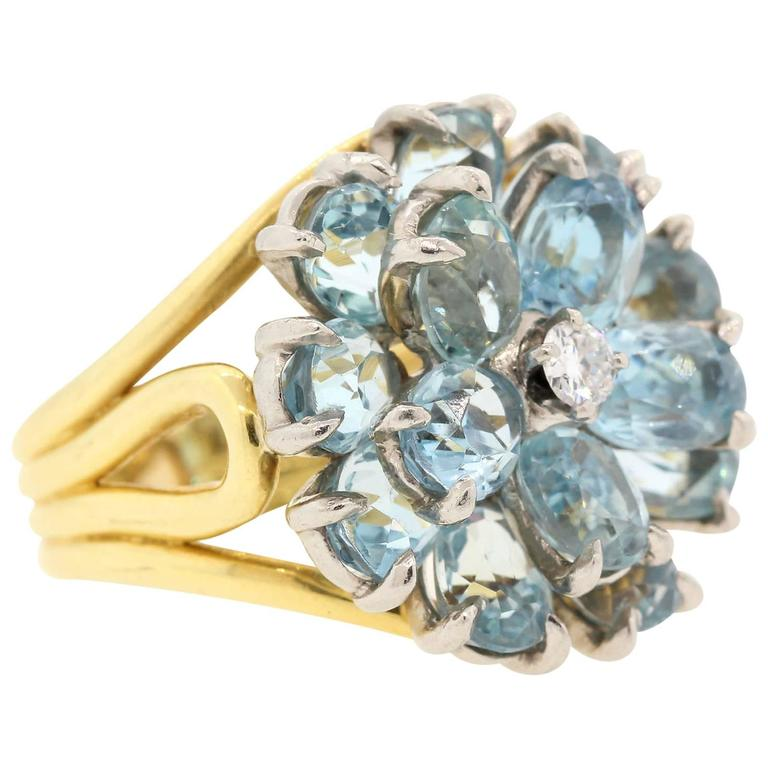 1960s Tiffany & Co. Aquamarine Diamond Gold Ring  1