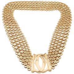 Cartier Penelope Double C Five Row Wide Link Gold Necklace