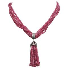 Multi-Strand Faceted Burmese Ruby and Pave` Diamond Necklace