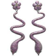 Pave`- Set Ruby and Diamond Sterling Silver Snake Earrings