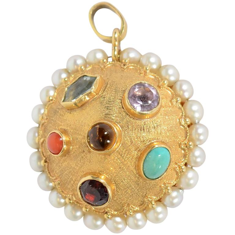 Multistone Gold Pendant For Sale