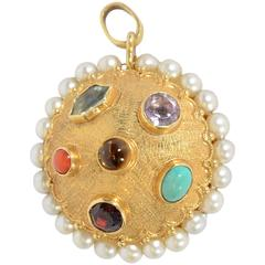 Multistone Gold Pendant