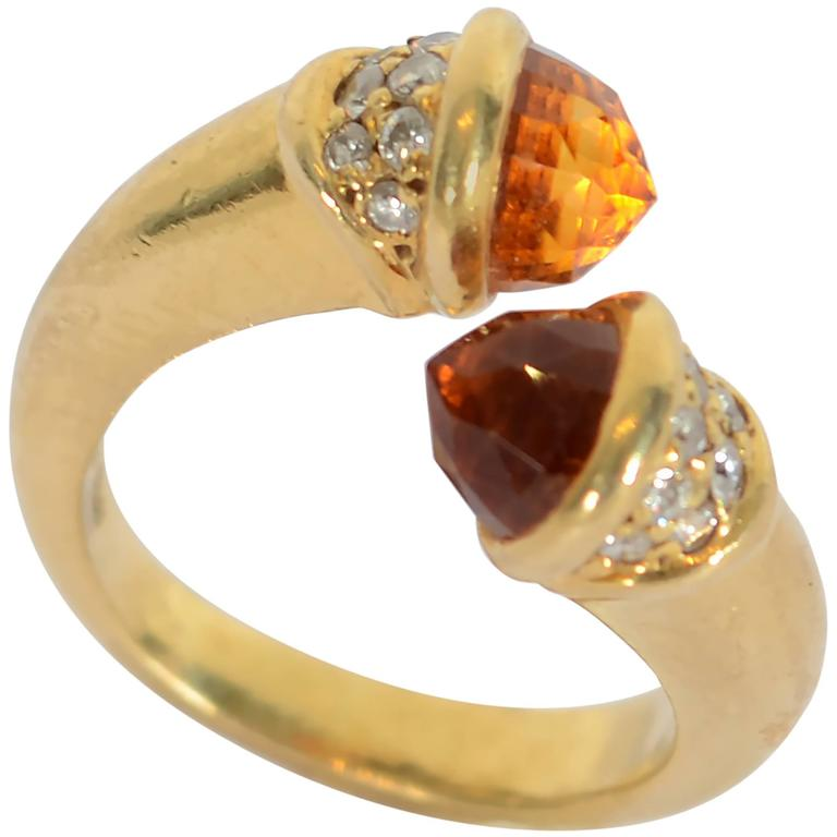 Mauboussin Citrine Diamond Gold Ring