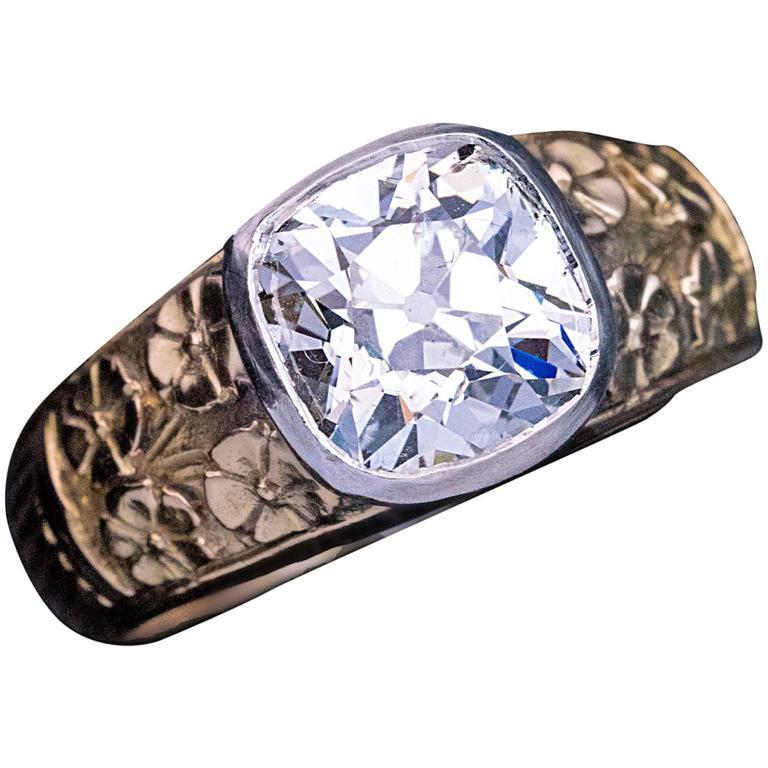Art Nouveau Antique 2.83 Carat Diamond Chased Gold Men's