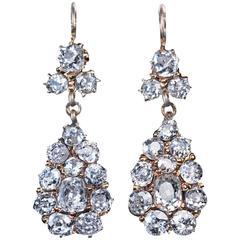 Antique Russian Diamond Gold Drop Earrings