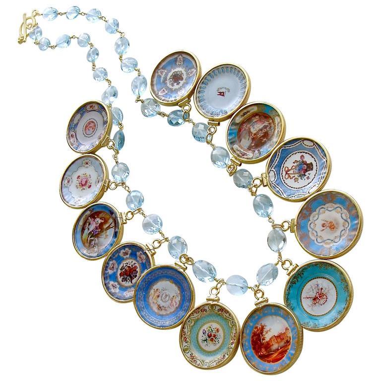 Blue Topaz Miniature Plates Charm Necklace