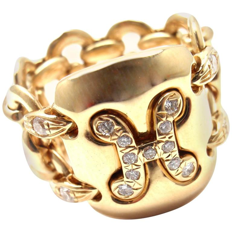 Hermes Diamond Gold H Wide Link Band Ring