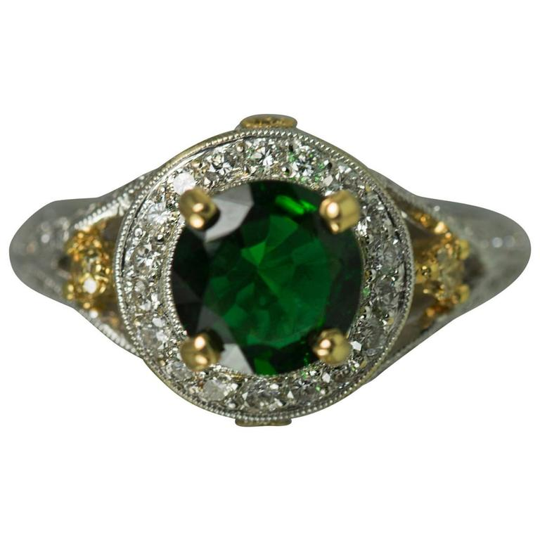 Chrome Tourmaline Diamond Gold Ring