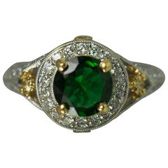 Chrome Tourmaline Diamond Gold Ring
