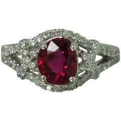 1.99 Carat Ruby Diamond Gold Ring