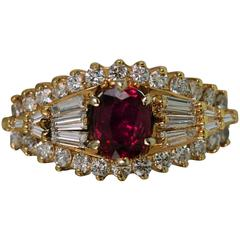 Burma Ruby Diamond Gold Ring