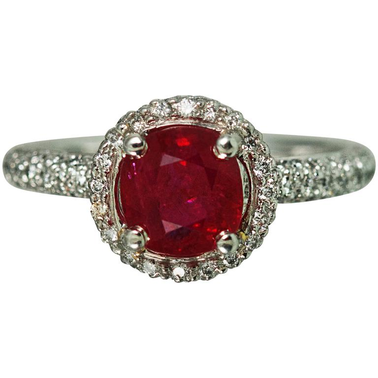 1.81 Carat Burma Ruby Diamond Gold Ring