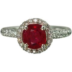 1.81 Carat Burma Ruby Diamond Gold Ring