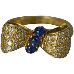 Sapphire Diamond Gold Bow Ring