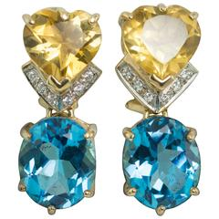 Topaz Citrine Diamond Gold Earrings