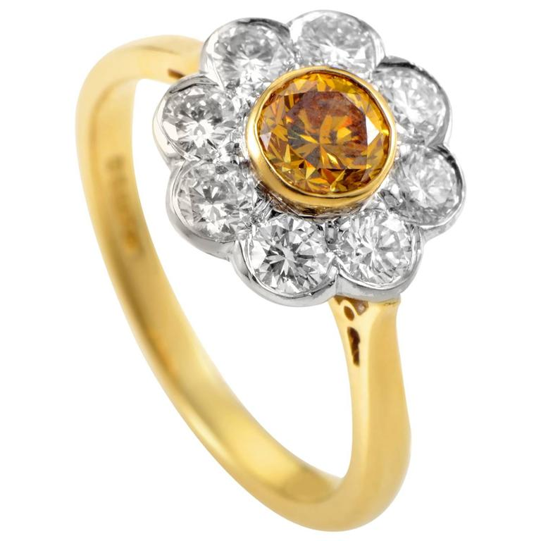Garrard Orange and White Diamond Multi-Color Gold Flower Ring 1