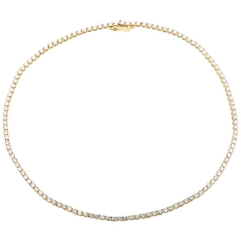 Tiffany & Co. Yellow Gold Diamond Tennis Necklace 1