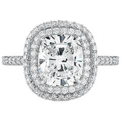 Forevermark Diamond Ring 2.03 Carat Cushion Diamond with Double Halo
