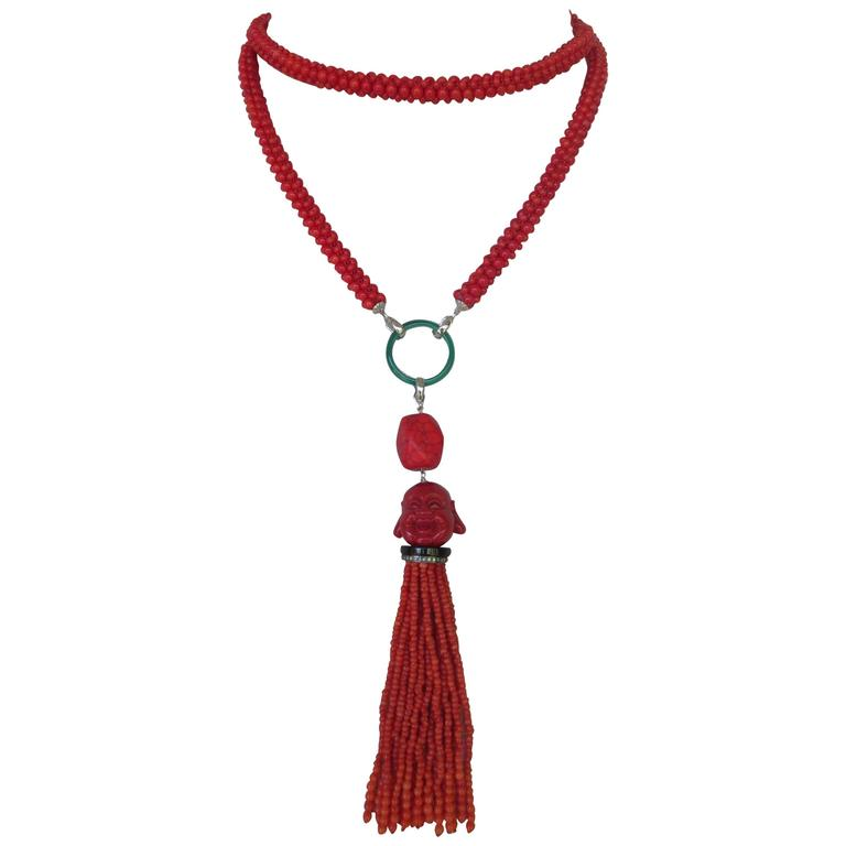 Multi-Strand Woven Coral Bead Tassel Sautoir Necklace 1
