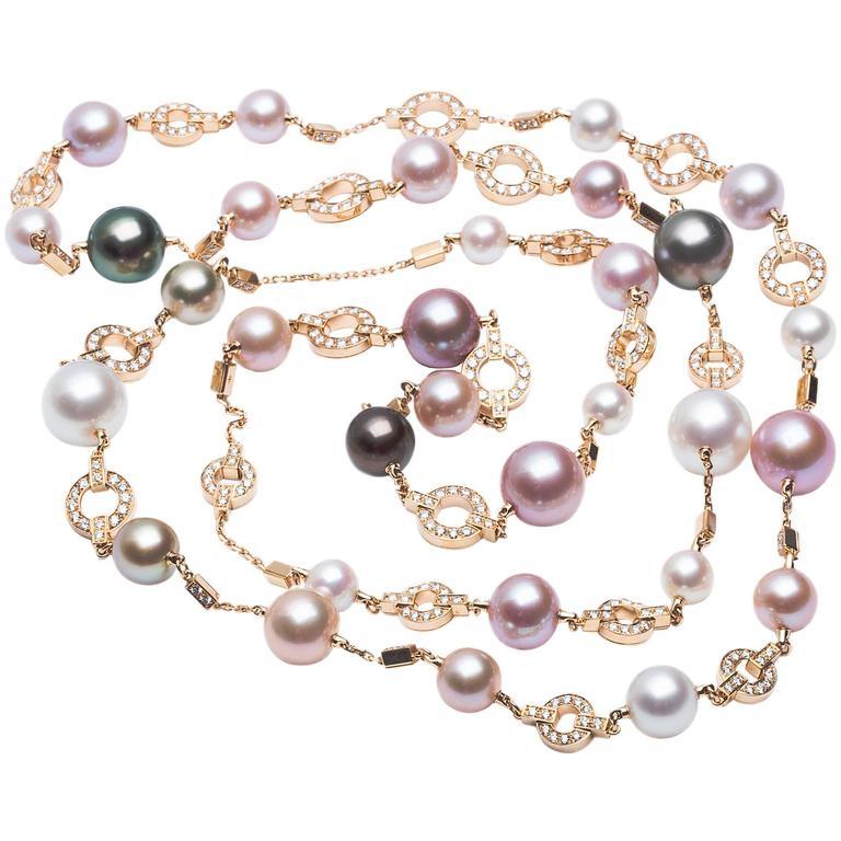 Cartier Himalia Multi-Color Pearl Diamond Gold Long Necklace