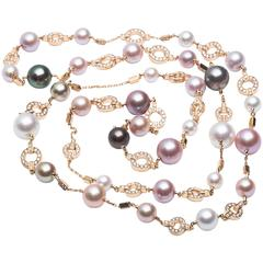 Cartier Himalia Multicolor Pearl Diamond Gold Long Necklace