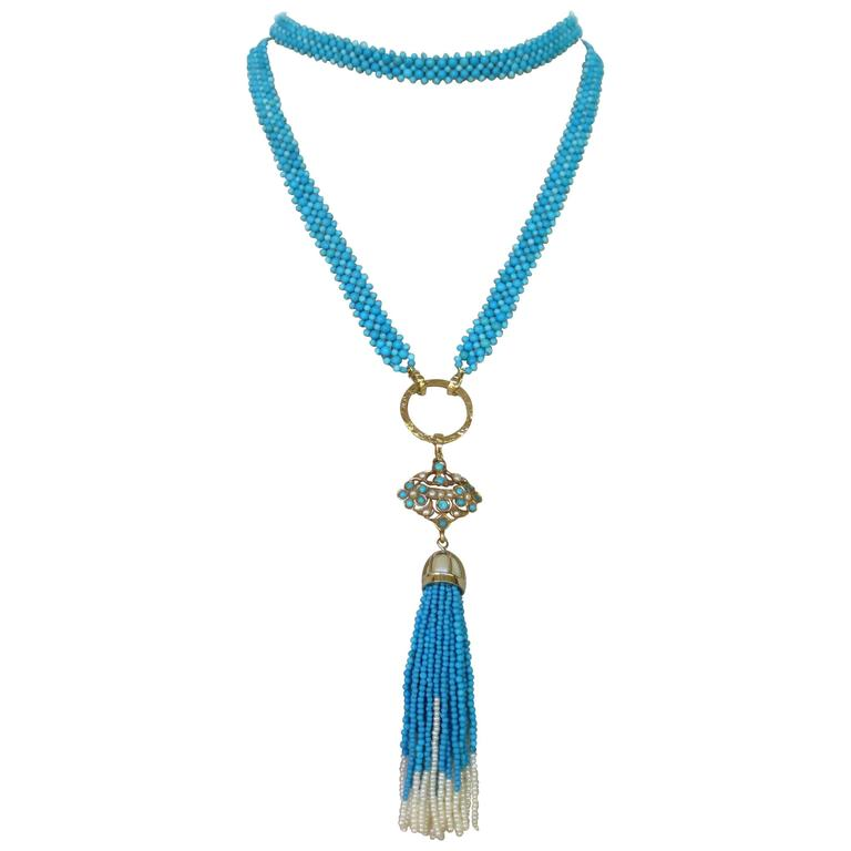 Multi-Strand Woven Turquoise Bead and Pearl Sautoir Necklace