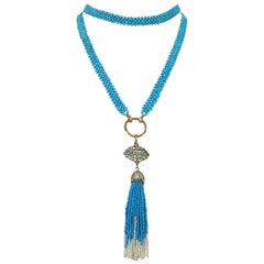 Marina j Multi-Strand Woven Turquoise Bead and Pearl Sautoir Necklace