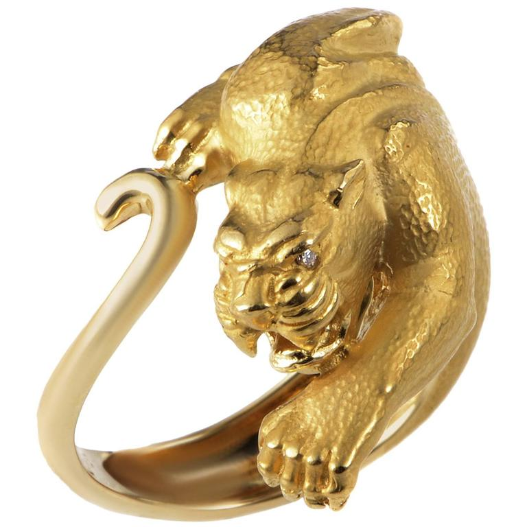 y yellow gold panther ring at 1stdibs
