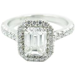 Gorgeous Emerald Cut Diamond Platinum Engagement Ring.