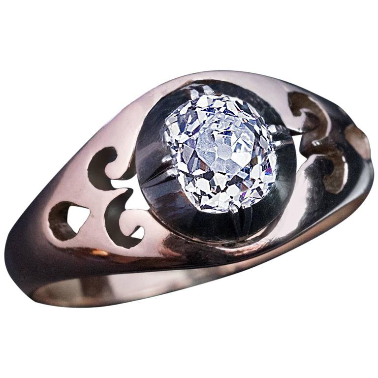 Antique Russian Cushion Cut Diamond Unisex Ring For Sale