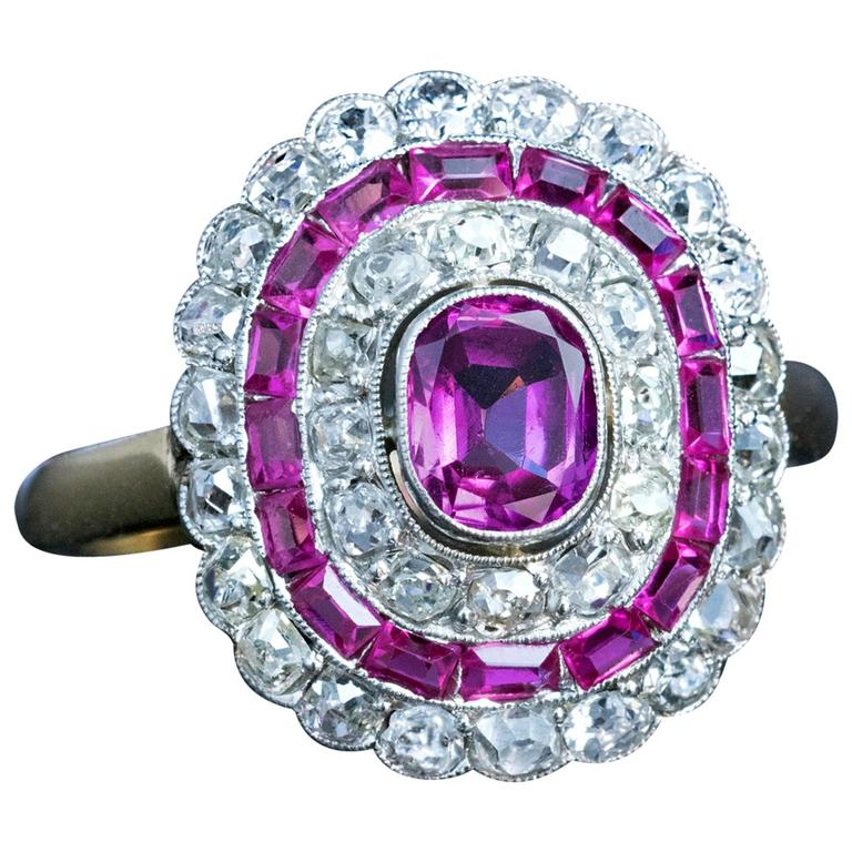 Art Deco Pink Sapphire Diamond Engagement Ring  1