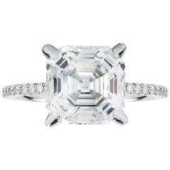 Marisa Perry Micro Pave Four Carat Royal Asscher Diamond Ring
