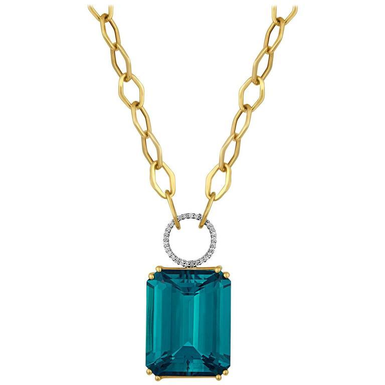 30 Carats Blue Topaz Diamond Gold Necklace